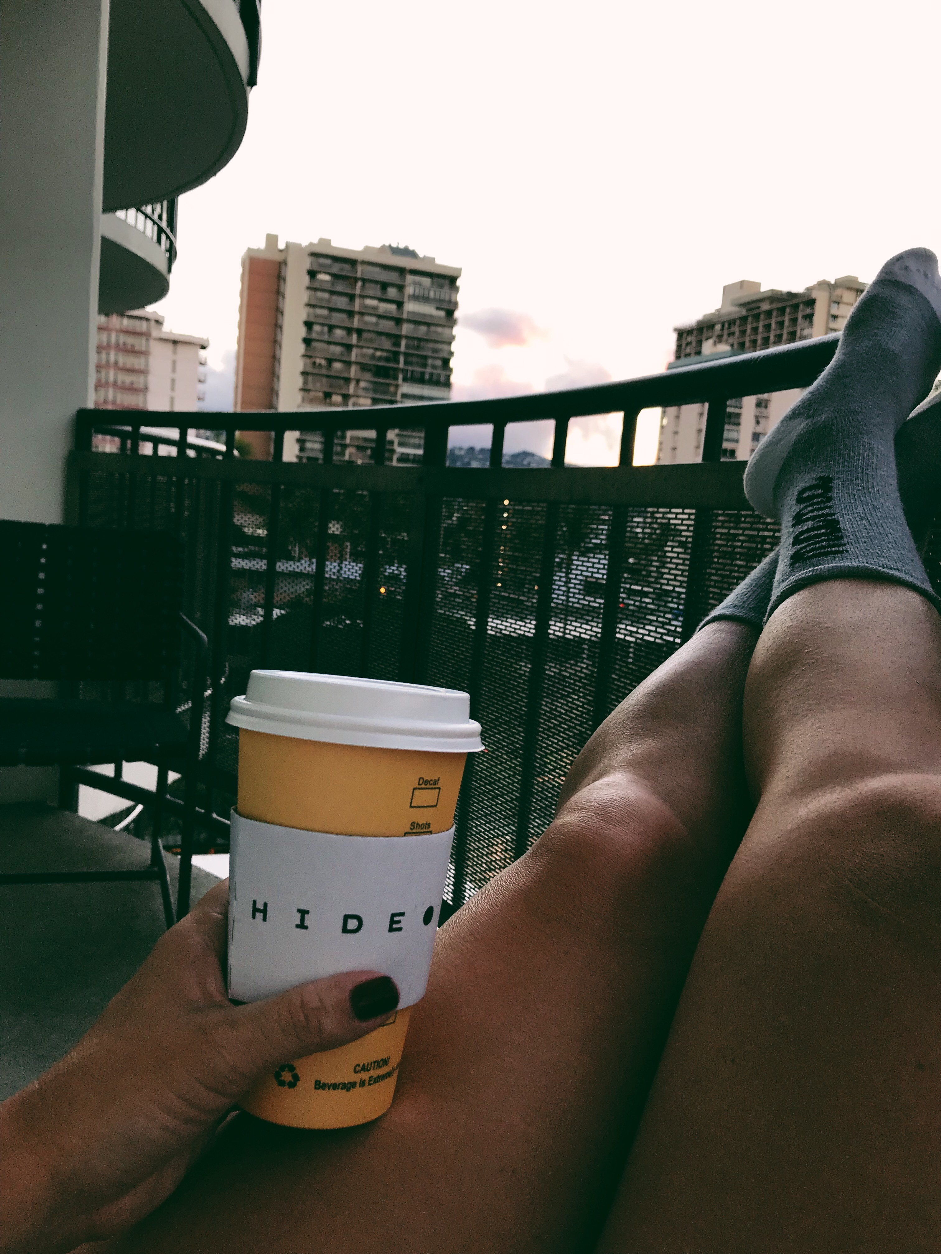 coffee, socks, sunrise