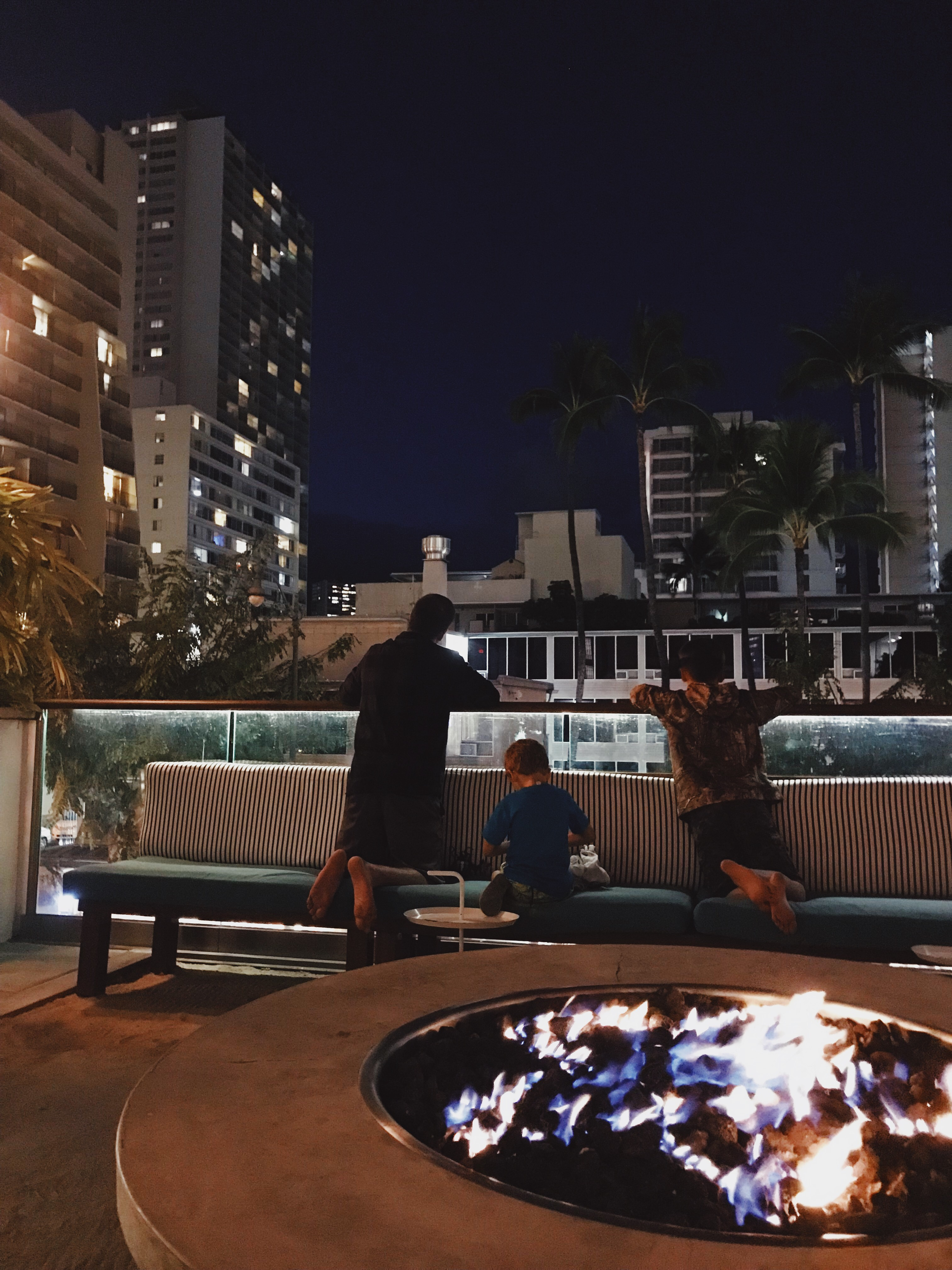 Fire pit and looking out over busy Waikiki.